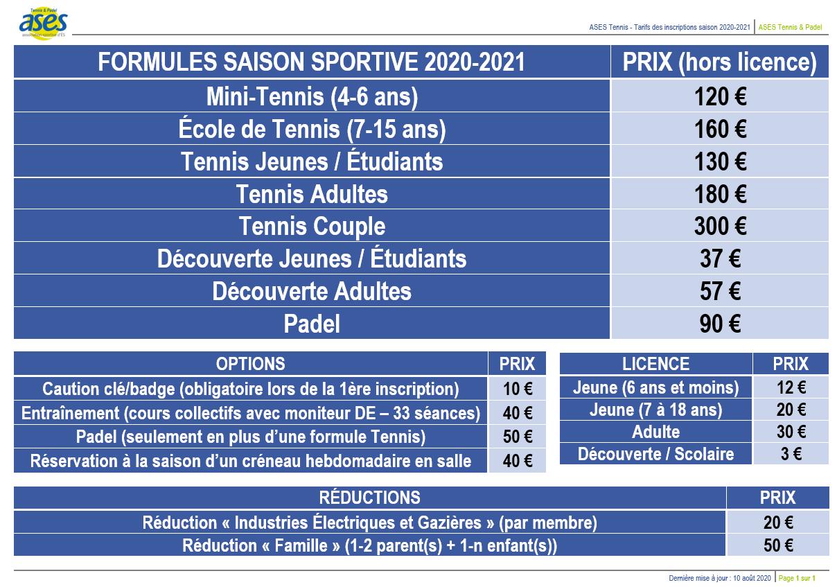 Tarfis ASES Tennis 2020-2021